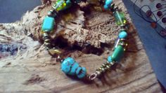 Awesome double strand bracelet turquoise and by halfmoonunder