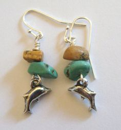 Pewter dolphin earrings with turquoise stone