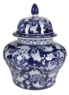 Ceramic lidded ginger jar is sure to bring an elegant touch to a table, bookshelf, hutch or buffet. Blue and white floral-and-vine design is simply striking. Ceramic Jars, Ceramic Decor, Keramik Vase, Vine Design, Blue And White China, Blue China, Dark Blue, Decorated Jars, Ginger Jars
