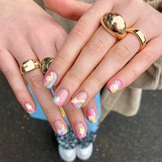Nail Inspo, Summer Nails, Claws, Flower Power, Nail Art, Candy, Floral, Jewelry, Summery Nails