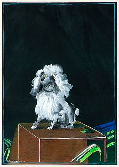 Juhani Linnovaara, Puudeli 1974 Bukowski, Finland, Painting & Drawing, Lion Sculpture, Arts And Crafts, Auction, Statue, Drawings, Poodle