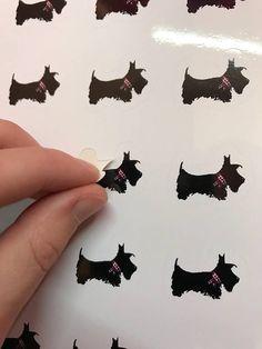 Scottie Dog Vinyl stickers / envelope seals 32 stickers