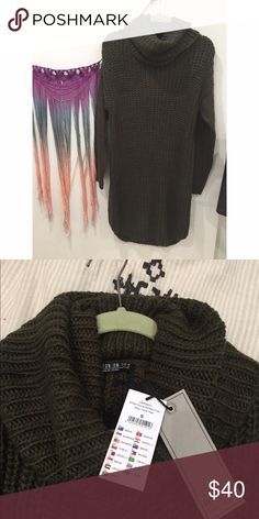 Olive Green Chunky Knit Sweater Dress Super warm sweater dress from Cotton On. Gorgeous dark green color. Cowl neck and falls mid calf (I am 5,6). Size small but would def fit a medium or a large tightly. If you're short this would be more of a maxi dress which is also super cute Urban Outfitters Dresses Midi