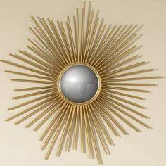sunburst mirror - Google Search Brass Mirror, Wall Mounted Mirror, Mirror Mirror, Gold Mirrors, Mirror Image, Chandeliers, Decor Interior Design, Interior Decorating, Decorating Ideas