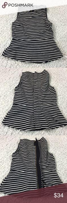 J. Crew Ponte Peplum top in stripe XS Black and white stripe. Full covered back zipper. Excellent used condition. Approximate flat lay measurements: chest 15in, waistband 14in, length 21in. #D-03 J. Crew Tops