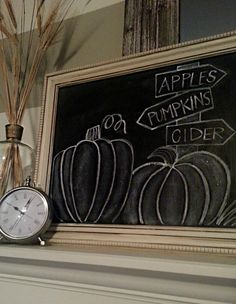 Fall chalkboard ideas and inspiration. Make things easy on yourself and use Wallies' peel-and-stick chalkboard sheets instead of messy chalkboard paint. Sheets come in all sizes and remove easily with no sticky mess. Fall Chalkboard Art, Chalkboard Doodles, Chalkboard Writing, Kitchen Chalkboard, Chalkboard Drawings, Chalkboard Lettering, Chalkboard Designs, Chalkboard Paint, Chalkboard Ideas