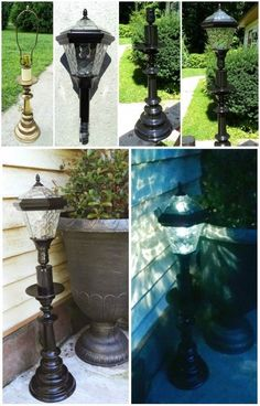 DIY solar lamp, just use an inexpensive solar stake light and an old lamp base, put them together, and tada! A great weighted outdoor solar lamp. Redo It Yourself Interiors