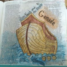Biblejournaling Bijbeljournaling Bibleart Craftbijbel Genesis 7 Noach met ark Alleen Noach vond genade bij God