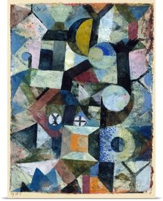 Paul Klee Poster Print Wall Art Print entitled Composition with the Yellow Half-Moon and the Y - Original Edge, None