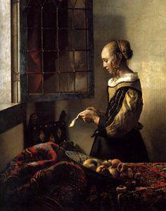 Johannes Vermeer, A Girl Reading a Letter by an Open Window (detail), c. Gemäldegalerie Alte Meister (Old Masters Picture Gallery), Dresden. Johannes Vermeer, Delft, Rembrandt, Vermeer Paintings, Tableaux Vivants, Baroque Art, Dutch Painters, Girl Reading, Dutch Artists
