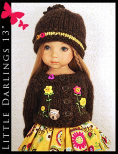 """Fall Brown & Yellow Outfit for Little Darlings Effner 13"""" by Maggie & Kate"""