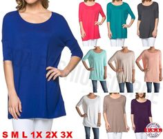 Womens Piko Style Short Sleeve Boatneck Long Tunic Top T-Shirt USA S M L XL PLUS | Clothing, Shoes & Accessories, Women's Clothing, Tops & Blouses | eBay!