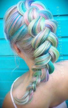 Bildergebnis für Meerjungfrauenhaar - New Site Hair Chalk, Rainbow Hair, Rainbow Pastel, Unicorn Hair, Gorgeous Hair, Beautiful Braids, Cool Hair Color, Hair Colour, Crazy Hair