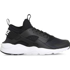 NIKE Air huarache run ultra neoprene and mesh trainers ($135) ❤ liked on Polyvore featuring shoes, black white, laced up shoes, mesh shoes, lace up shoes, black and white shoes and nike footwear