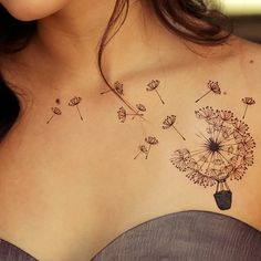 Hot Air Balloon Dandelion Tattoo on Chest