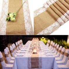 NEU 275cm Tischläufer Tischband Läufer Sackleinen Jute Spitze Hochzeit Tischdeko
