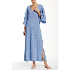 N Natori Slub Knit Caftan ($42) ❤ liked on Polyvore featuring tops, tunics, dbl, three quarter sleeve tops, knit tunic, v neck knit top, kaftan tunic and 3/4 sleeve tops