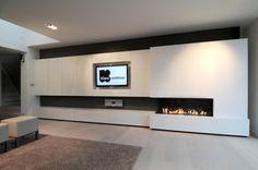 Haarden - Inbouwhaarden gas - M-design Luna 1300 CL Gold Hoek Gashaard hoek Links Fireplace Feature Wall, Tv Feature Wall, Fireplace Tv Wall, Modern Fireplace, Tv Wall Design, House Design, Living Room Modern, Living Room Designs, Foyers