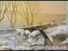 ▶ Winter in Wensleydale - Watercolour Demonstration by PETER WOOLLEY - YouTube