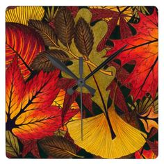 Autumn / Fall Leaves - Wall / Kitchen Clock