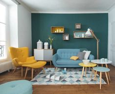 Yellow vintage chair with ottoman for living rooms