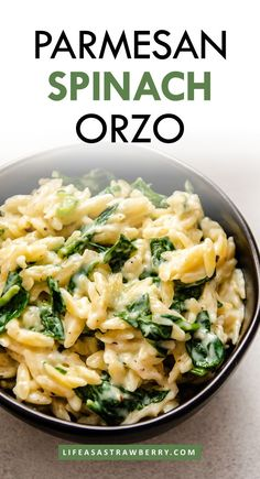 Mix up your dinner routine with this quick, easy, flavorful Parmesan Spinach Orzo! Comes together in a snap with an easy garlic parmesan sauce. Side Dish Recipes, Veggie Recipes, Pasta Recipes, Vegetarian Recipes, Dinner Recipes, Healthy Recipes, Risotto Recipes, Beef Recipes, Yummy Recipes
