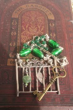 Princess and the pea, Sterling silver Narrative jewelry, Forged, Assemblage jewelry, Fairytale necklace, green gem, Handmade Wearable Art, Bird Jewelry, Heart Jewelry, Key Jewelry, Statement Jewelry, Silver Jewelry, Jewellery, Vintage Keys, Vintage Brooches, Celtic