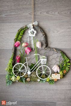 Door wreath heart shape door wreath times different spring deco bike The Effective Pictures We Offer You About modern spring wreaths diy A quality picture can tell you many th Diy Spring Wreath, Diy Wreath, Door Wreaths, St. Patrick's Day Diy, March Crafts, Spring Crafts, Upcycled Crafts, Diy And Crafts, Diy Wedding Gifts
