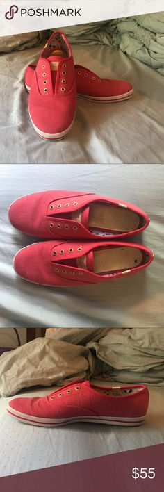 ✨HOST PICK✨ Kate Spade Pink Keds Barely worn Kate Spade Keds! Beautiful bright pink color with gold accents. The shoes were a direct purchase from a Kate Spade store. Very comfortable! The few times I wore them I wore socks, so no smelly feet! Still look brand new, the soles don't even have any sign of use. kate spade Shoes Sneakers