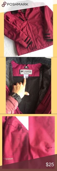 Girls Columbia Omni Heat Winter Jacket My daughter has outgrown this so I hope someone else can use a really great high quality winter coat. This jacket is super warm and features Columbia's Omni-Heat thermal technology. Maroonish pink color with cute flower stitching on the front left pocket and right back shoulder (both pictured). There is a blackish blue stain on the left arm near the shoulder and the left elbow is showing some wear (both pictured). No trades & my listing price is firm…
