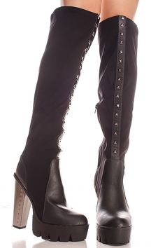 This black over the knee boots features a studded accent design,platform,studded heel,faux leather look,treaded bottom.Length of boot measures about 24 inches from top to bottom.