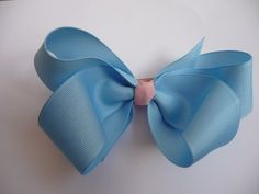 Blue and pink boutique hair bow!