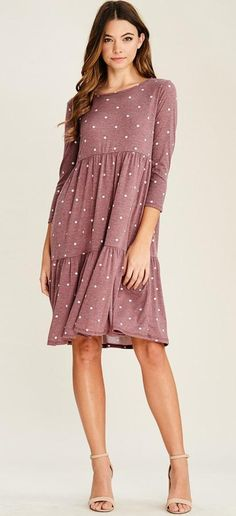modest dress, polka dots, missionary clothing, modest clothing, mauve
