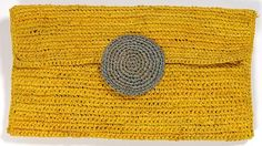 AM195 Yellow Handcrafted Raffia Crochet Clutch Le Voyage en Panier