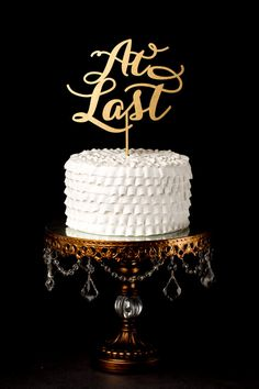 At Last Cake Topper Gold Wedding Soirée by BetterOffWed on Etsy