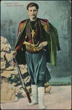 Cretois Costume - Greek dress - Wikipedia, the free encyclopedia Greek Traditional Dress, Traditional Outfits, Folk Fashion, Modern Fashion, Ancient Greek Clothing, Greek Dress, Greek Men, Folk Clothing, Greek History