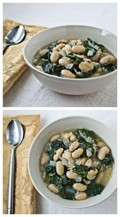 Recover from your holiday binging (or just enjoy healthy eating :-) ) with this easy, healthful White Bean and Kale Soup. It only takes 7 ingredients and 30 minutes. Kale Recipes, Soup Recipes, Vegetarian Recipes, Cooking Recipes, Healthy Recipes, Cooking Tips, Vegetable Soup Healthy, Healthy Soup, Veggie Food