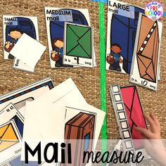 Post office mail measure! Community Helper themed activities and centers for preschool, pre-k, and kindergarten.