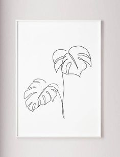 Monstera line art Tropic leaves print Abstract botanic