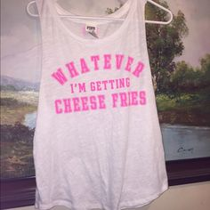 Victoria's Secret pink cheese fries tank small  Very good PINK Victoria's Secret Tops Tank Tops