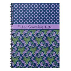 A pretty Spiral Notebook to customize, with a mix'n'match pattern of Polka Dots and Violets, one of the February Birth Month Flowers, from a watercolour painting by Judy Adamson. Part of the Posh & Painterly 'Sweet Violets' collection: up to $15.95 - http://www.zazzle.com/custom_spiral_notebook_violets_and_polka_dots-130892481903319969?rf=238041988035411422&tc=pintw