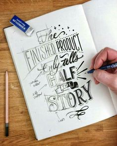 Handlettering ~ the finished product only tells half the story Hand Lettering Quotes, Calligraphy Quotes, Creative Lettering, Calligraphy Letters, Typography Letters, Brush Lettering, Lettering Design, Typography Sketch, Pencil Calligraphy