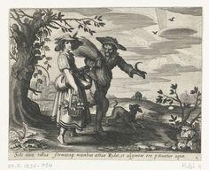 Daniël van den Bremden | Zomer, Daniël van den Bremden, Adriaen Pietersz. van de Venne, 1625 - 1630 | Een jonge vrouw met een mand vol met vruchten en een boer die net van de graanoogst komt wandelen een stuk naast elkaar. De boer draagt koren over zijn schouder en een sikkel in zijn hand. De jonge vrouw houdt haar schort omhoog. Een hond springt kwispelend op de weg. Op de achtergrond is een hooiwagen met boeren te zien die naar huis vertrekken. Voorstelling van de zomer uit een prentserie…