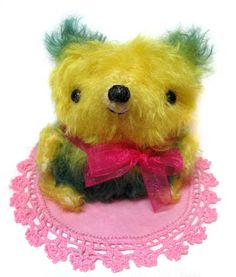 Tulip, by Peng Peng. Hand dip dyed mohair bear, one of a kind.