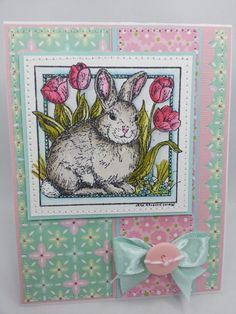 Watercolored Bunny  Handmade Card by creationsbywendalyn on Etsy, $7.00