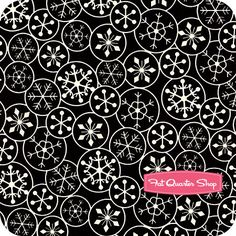 fabric- black and white snowflakes