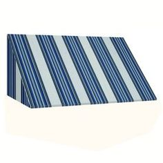 Awntech 244.5-In Wide X 36-In Projection Navy/Gray/White Stripe Slope