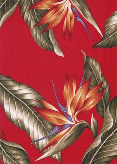 40wali Tropical Hawaiian Vintage bird of paradise flowers, cotton apparel fabric.  More fabrics at: BarkclothHawaii.com