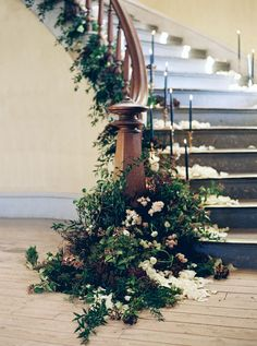 9 Stunning Greenery Wedding Ideas to Have a Budget Friendly Wedding---vintage wedding stairs with blue taper candles and greenery. Floral Wedding, Wedding Bouquets, Wedding Flowers, Wedding Vintage, Indian Wedding Decorations, Ceremony Decorations, Wedding Staircase Decoration, Wedding Stairs, Decoration Entree