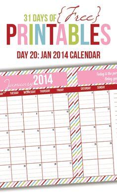 January 2014 Calendar Printable